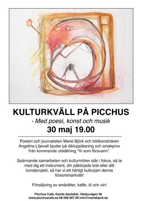 """Kulturkväll på Picchus i Väsby. Jag läser poesi från kommande utställningen """"Vi som försvann""""."""